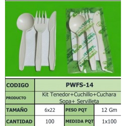 SET TRIO ECOGREEN CUCHARA/TENEDOR/CUCHILLO/SERVILLETA X 100